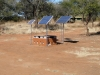 Solar panels provide electricity to a remote camp