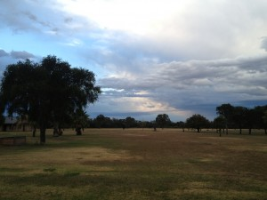 The early morning storm as it pulled away from the estancia.