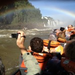 One of the many rainbows visible as we headed up river to the base of the falls.