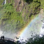 One of the many rainbows made from the falls mist.