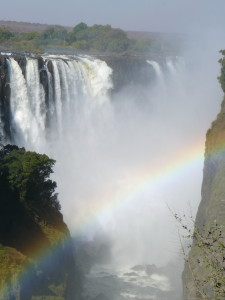 Rainbow down inside the Victoria Falls gorge.