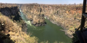 The view down into the Victoria Falls Gorge from the Overlook Café. If you look around the edges you can see some of the supports holding up the outside of the café.
