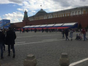 Some of the grandstand seating in Red Square. It will be full during the Victory Day festivities.