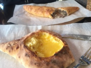 A cheese and egg khachapuri lodochka ended up being my favorite food discovery from the trip. The lodochka in the back was of the meat variety.