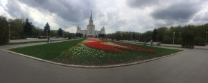 Moscow University, viewed from it's immaculate gardens.