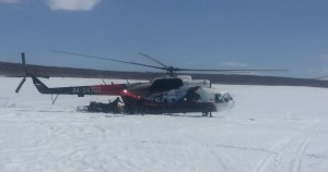 The MI-8, once the workhorse of the Russian military would be my ride home. This one had a fancy civilian paint job.